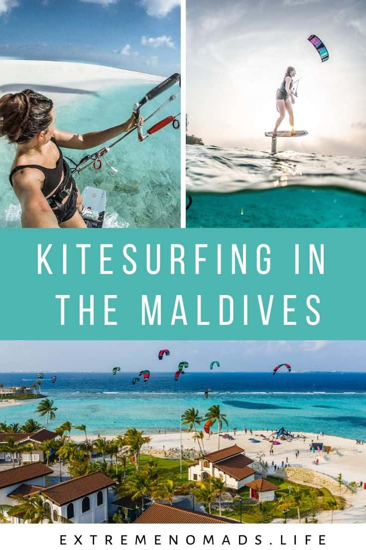 pinterest image with three photos of karolina winkowksa kitesurfing in the maldives with a caption that reads: kitesurfing in the maldives