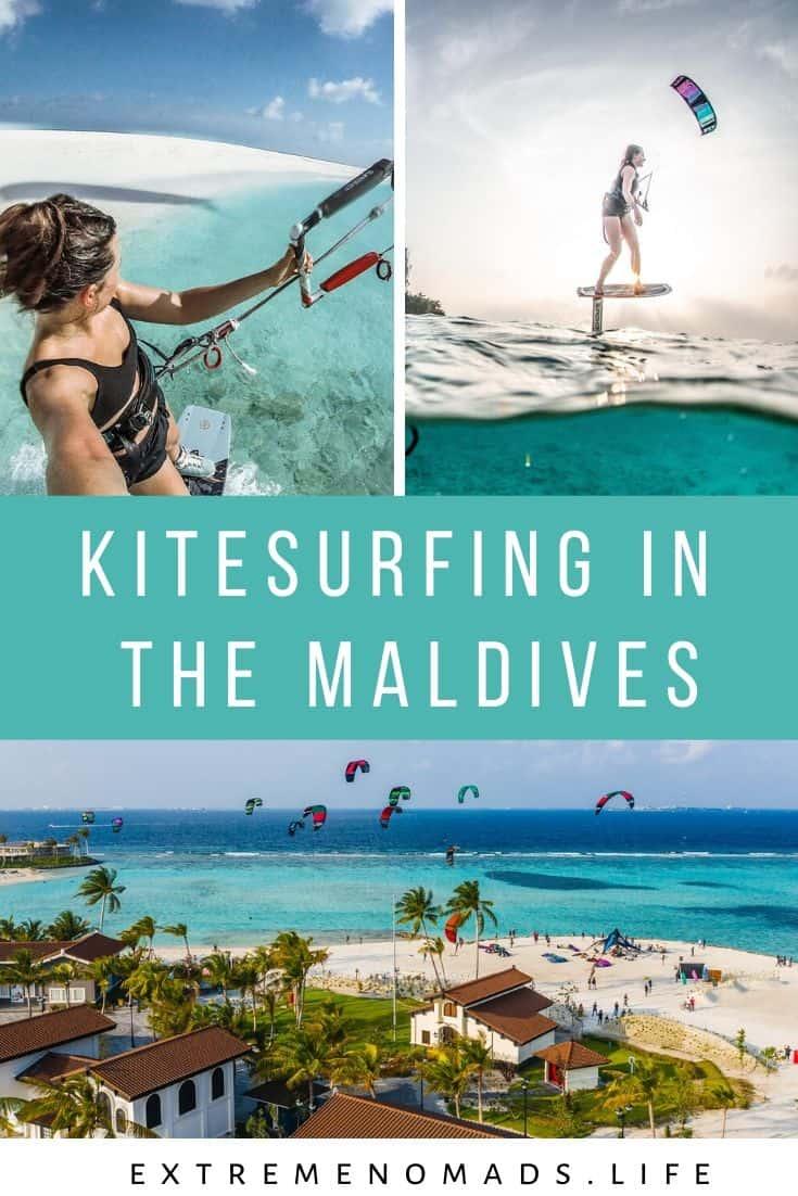 pinterest image with three photos of karolina winkowksa kitesurfing in the maldives with a caption that reads: kitesurfing in the maldives