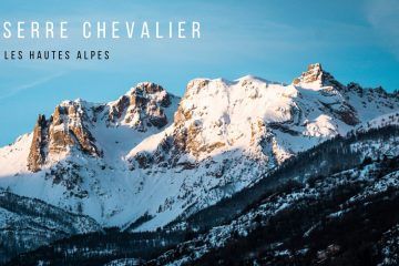 cover photo of the serre chevalier mountains covered in snow at sunrise. there is a caption that reads: serre chevalier, les hautes alpes