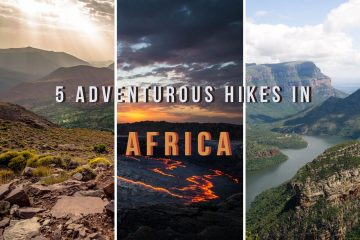 trois photos de randonnées célèbres en afrique et une légende qui dit : 5 randonnées aventureuses en afrique